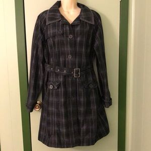 Merona XL Black Plaid Trench Coat